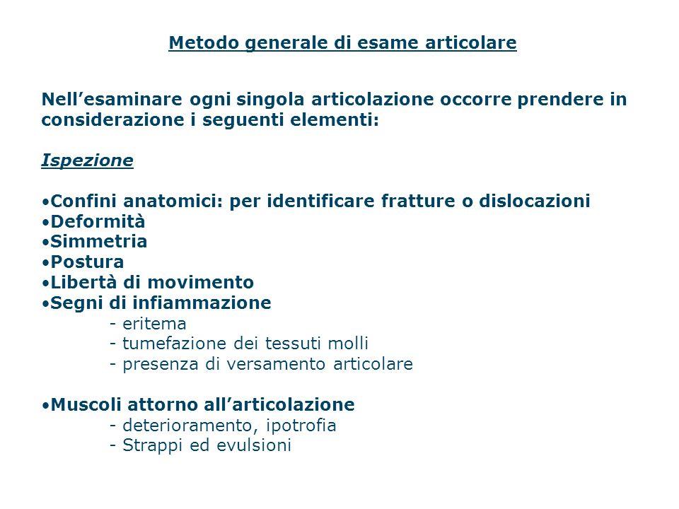 Metodo generale di esame articolare Nellesaminare ogni singola articolazione occorre prendere in considerazione i seguenti elementi: Ispezione Confini