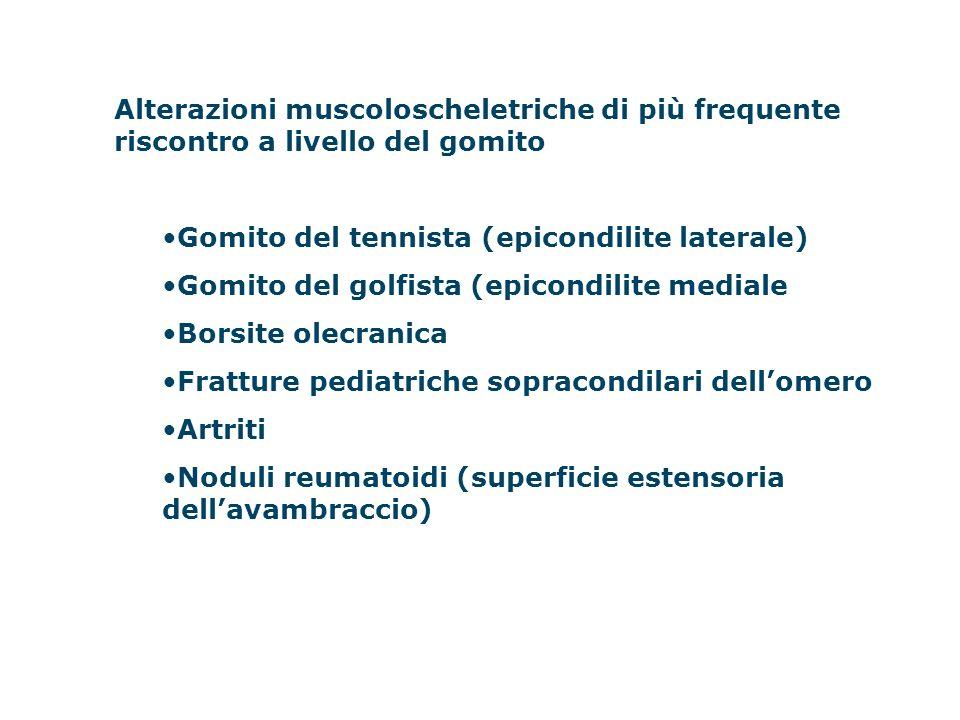 Alterazioni muscoloscheletriche di più frequente riscontro a livello del gomito Gomito del tennista (epicondilite laterale) Gomito del golfista (epico