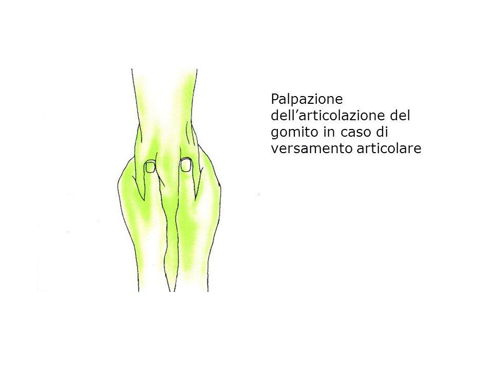 Palpazione dellarticolazione del gomito in caso di versamento articolare