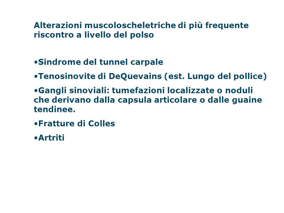 Alterazioni muscoloscheletriche di più frequente riscontro a livello del polso Sindrome del tunnel carpale Tenosinovite di DeQuevains (est. Lungo del