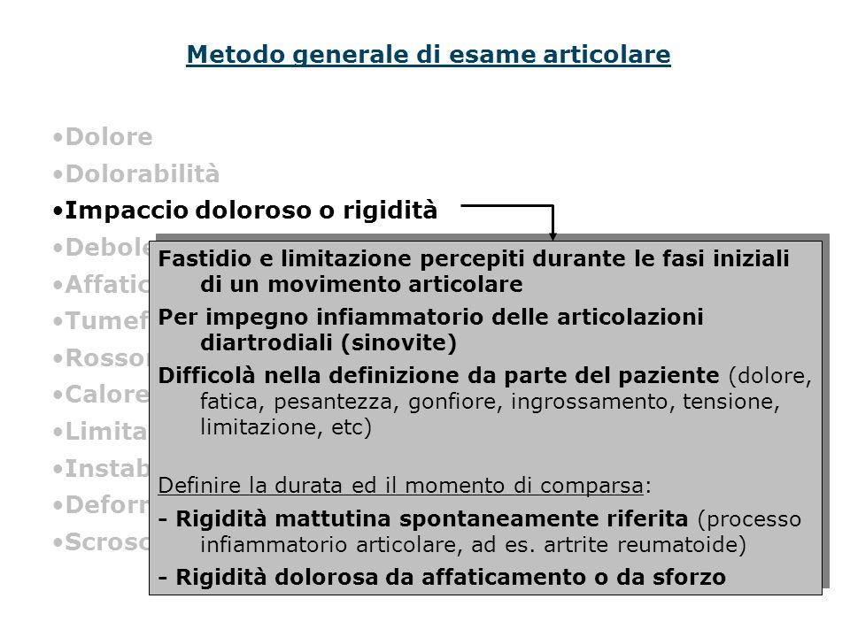 Metodo generale di esame articolare Dolore Dolorabilità Impaccio doloroso o rigidità Debolezza Affaticabilità Tumefazione Rossore Calore Limitazione a