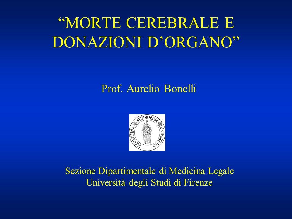 MORTE CEREBRALE E DONAZIONI DORGANO Prof. Aurelio Bonelli Sezione Dipartimentale di Medicina Legale Università degli Studi di Firenze