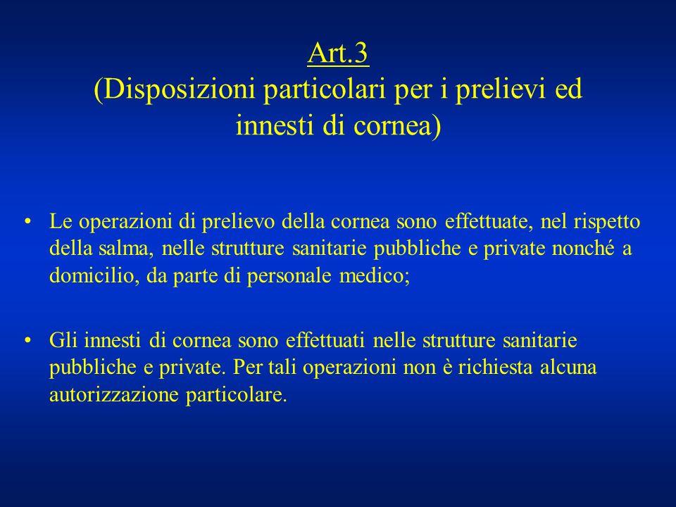 Art.3 (Disposizioni particolari per i prelievi ed innesti di cornea) Le operazioni di prelievo della cornea sono effettuate, nel rispetto della salma,