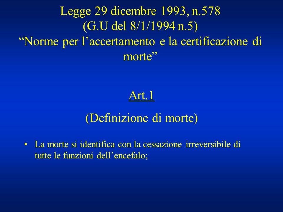 Legge 29 dicembre 1993, n.578 (G.U del 8/1/1994 n.5) Norme per laccertamento e la certificazione di morte La morte si identifica con la cessazione irr