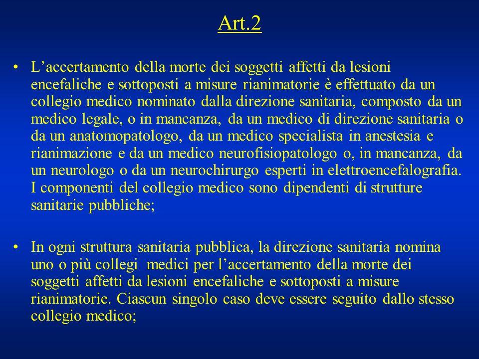 Art.2 Laccertamento della morte dei soggetti affetti da lesioni encefaliche e sottoposti a misure rianimatorie è effettuato da un collegio medico nomi