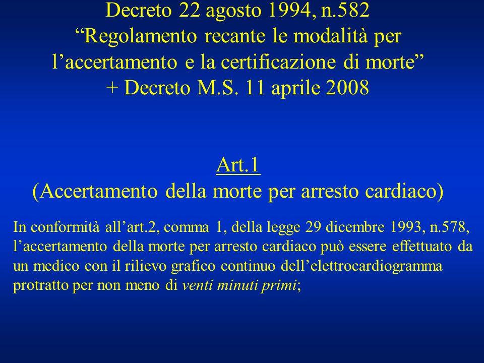 Decreto 22 agosto 1994, n.582 Regolamento recante le modalità per laccertamento e la certificazione di morte + Decreto M.S. 11 aprile 2008 Art.1 (Acce