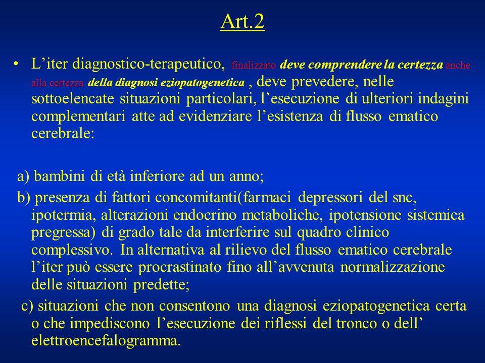 Art.2 Liter diagnostico-terapeutico, finalizzato deve comprendere la certezza anche alla certezza della diagnosi eziopatogenetica, deve prevedere, nel