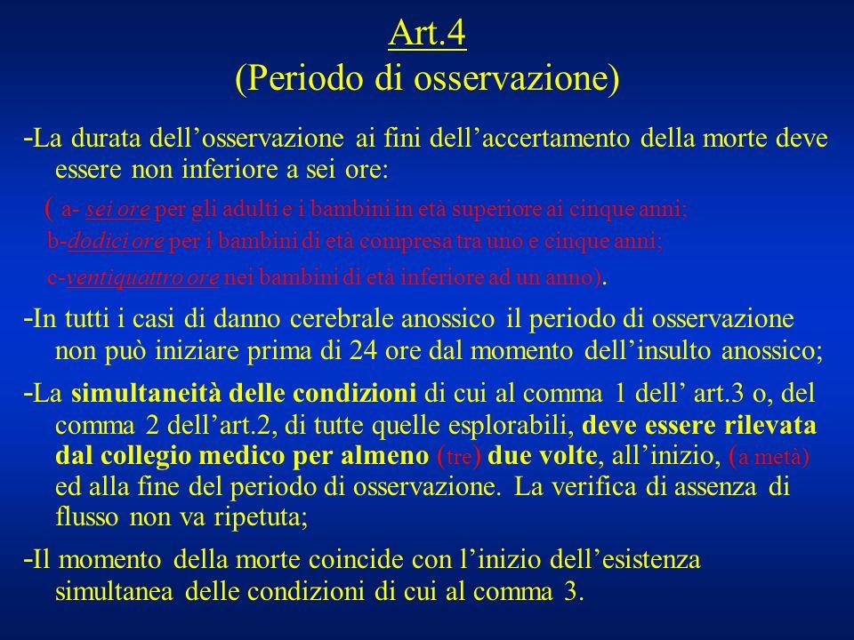 Art.4 (Periodo di osservazione) - La durata dellosservazione ai fini dellaccertamento della morte deve essere non inferiore a sei ore: ( a- sei ore pe