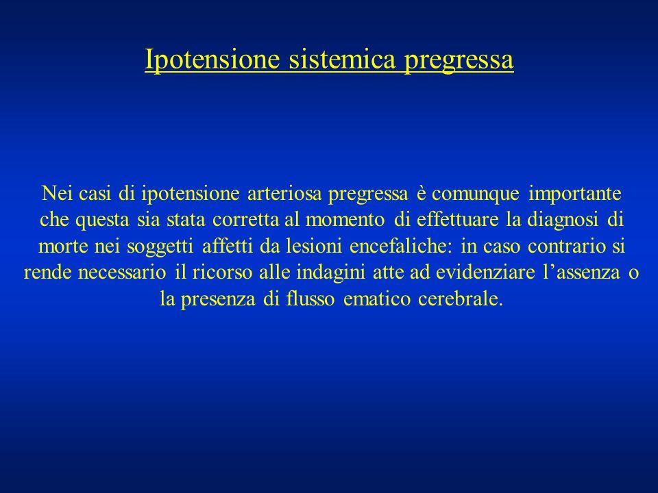 Ipotensione sistemica pregressa Nei casi di ipotensione arteriosa pregressa è comunque importante che questa sia stata corretta al momento di effettua