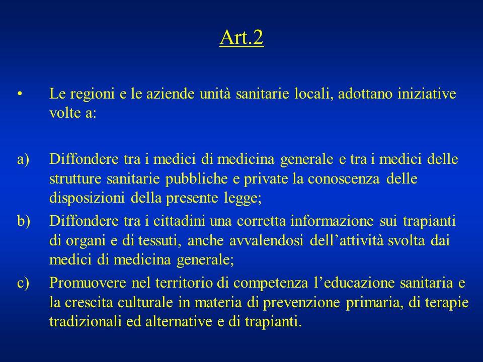 Art.2 Le regioni e le aziende unità sanitarie locali, adottano iniziative volte a: a)Diffondere tra i medici di medicina generale e tra i medici delle