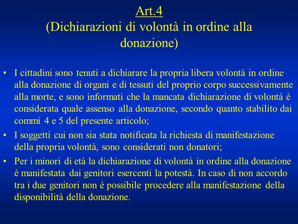 Art.4 (Dichiarazioni di volontà in ordine alla donazione) I cittadini sono tenuti a dichiarare la propria libera volontà in ordine alla donazione di o