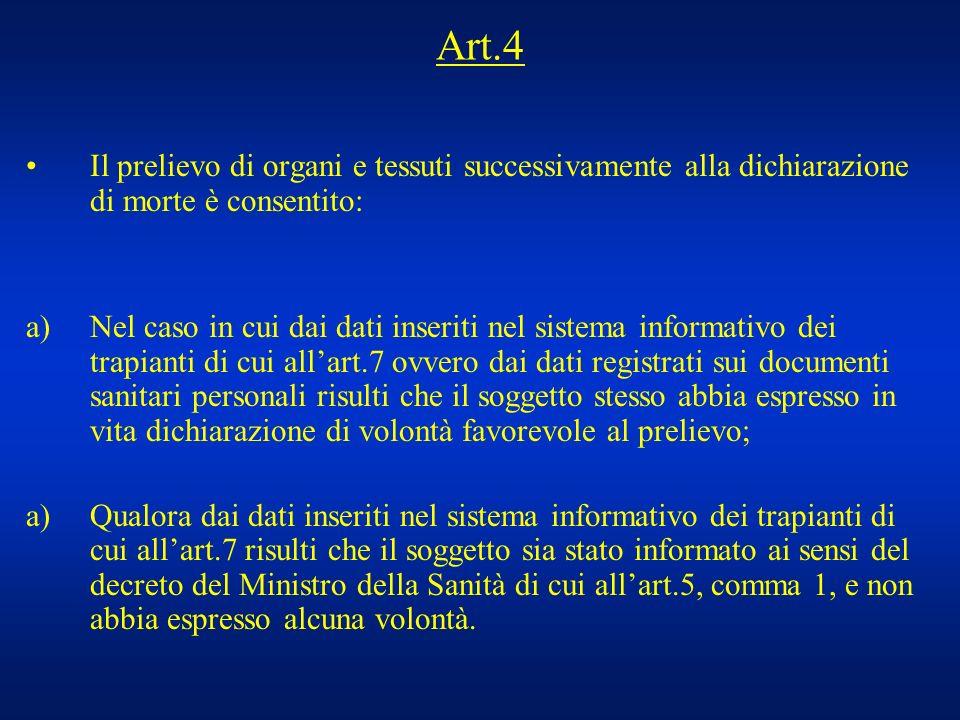 Art.4 Il prelievo di organi e tessuti successivamente alla dichiarazione di morte è consentito: a)Nel caso in cui dai dati inseriti nel sistema inform