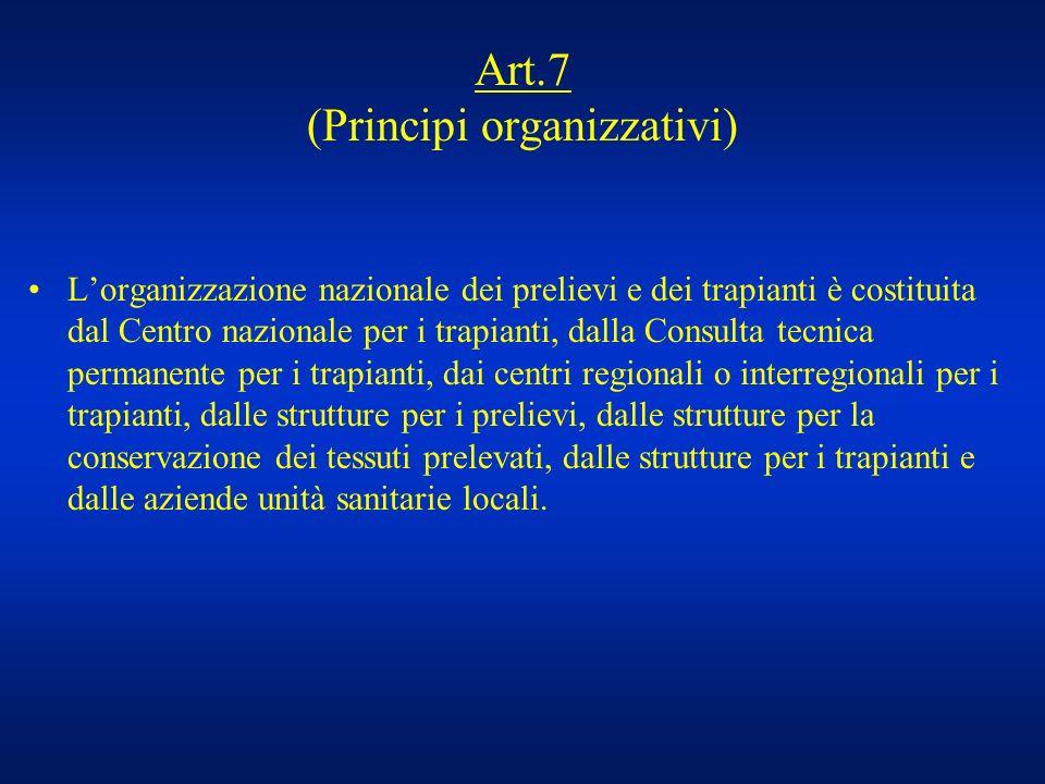Art.7 (Principi organizzativi) Lorganizzazione nazionale dei prelievi e dei trapianti è costituita dal Centro nazionale per i trapianti, dalla Consult