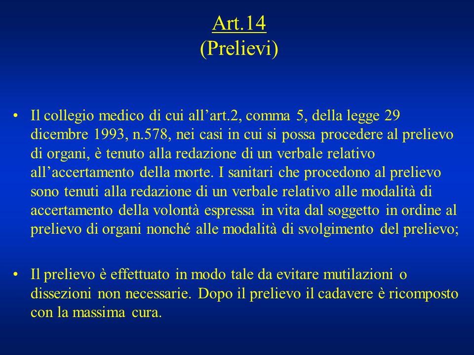 Art.14 (Prelievi) Il collegio medico di cui allart.2, comma 5, della legge 29 dicembre 1993, n.578, nei casi in cui si possa procedere al prelievo di