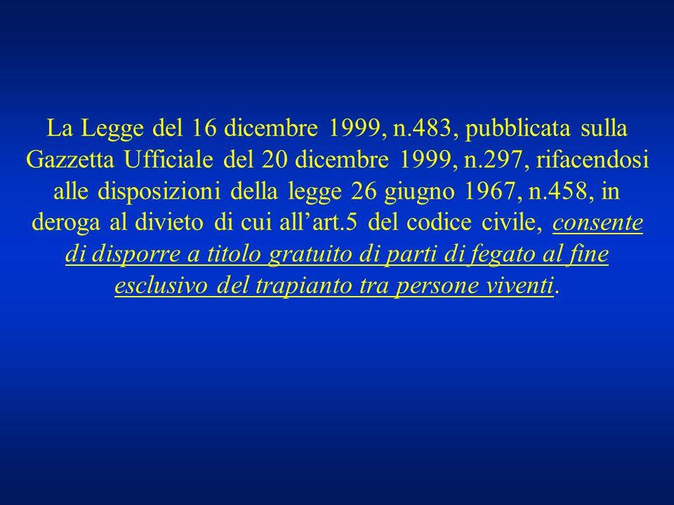 La Legge del 16 dicembre 1999, n.483, pubblicata sulla Gazzetta Ufficiale del 20 dicembre 1999, n.297, rifacendosi alle disposizioni della legge 26 gi