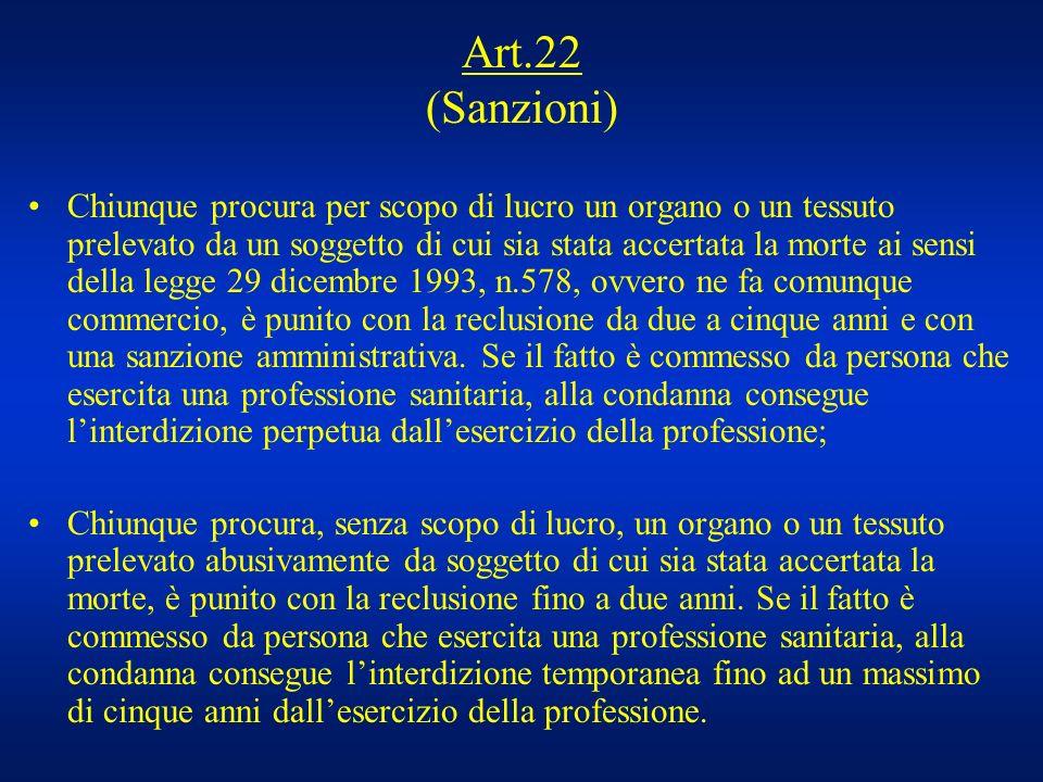 Art.22 (Sanzioni) Chiunque procura per scopo di lucro un organo o un tessuto prelevato da un soggetto di cui sia stata accertata la morte ai sensi del