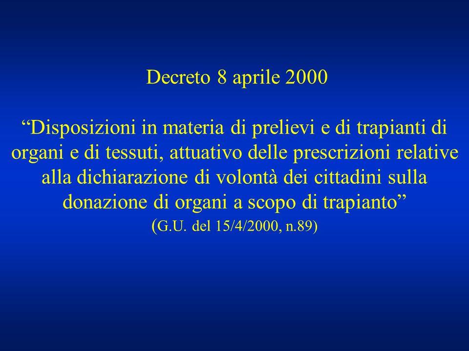 Decreto 8 aprile 2000 Disposizioni in materia di prelievi e di trapianti di organi e di tessuti, attuativo delle prescrizioni relative alla dichiarazi