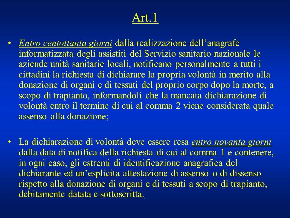 Art.1 Entro centottanta giorni dalla realizzazione dellanagrafe informatizzata degli assistiti del Servizio sanitario nazionale le aziende unità sanit