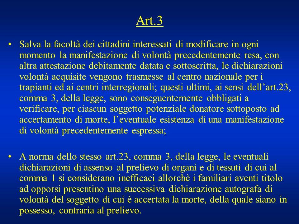 Art.3 Salva la facoltà dei cittadini interessati di modificare in ogni momento la manifestazione di volontà precedentemente resa, con altra attestazio