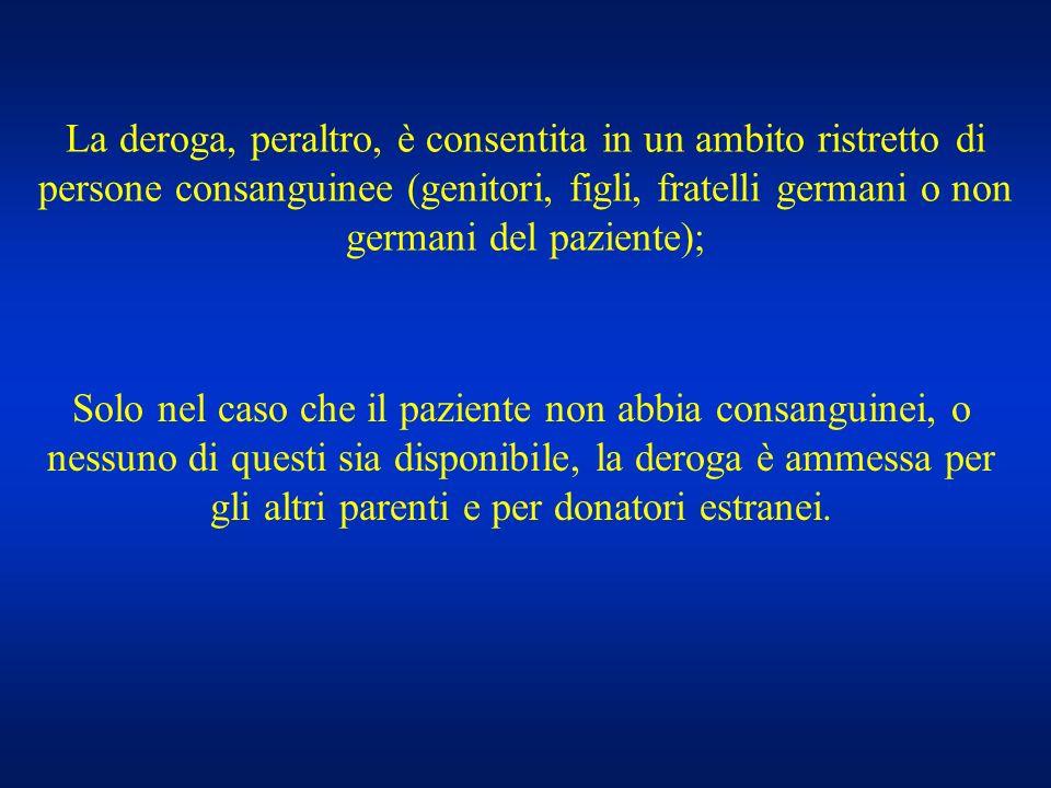 La deroga, peraltro, è consentita in un ambito ristretto di persone consanguinee (genitori, figli, fratelli germani o non germani del paziente); Solo