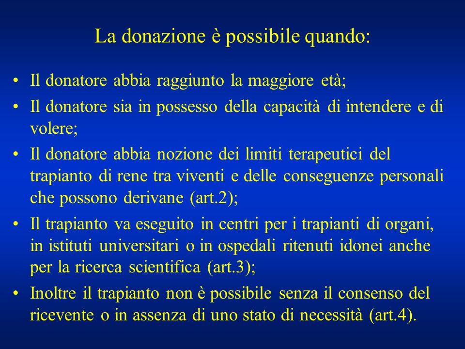 La donazione è possibile quando: Il donatore abbia raggiunto la maggiore età; Il donatore sia in possesso della capacità di intendere e di volere; Il