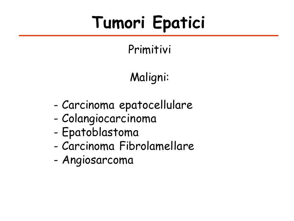 Tumori Epatici Secondari Maligni: - Gastrointestinali (45%) (colon, stomaco, pancreas) - Polmonari(24%) - Urogenitali (8%) - Mammella(8%) Fibrolamellare