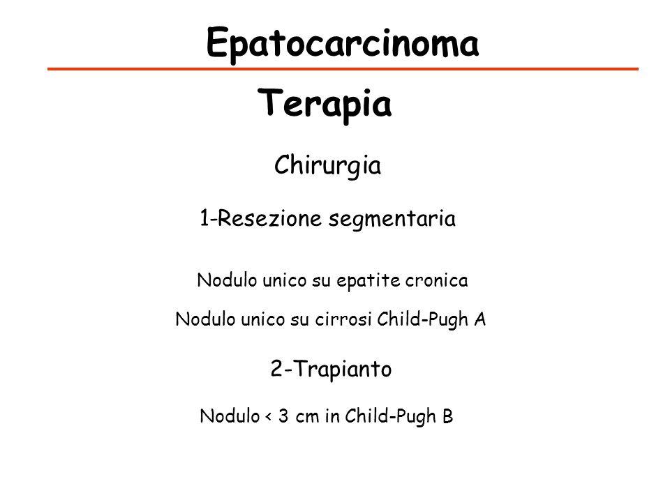 Epatocarcinoma Terapia Chirurgia 1-Resezione segmentaria Nodulo unico su epatite cronica Nodulo unico su cirrosi Child-Pugh A 2-Trapianto Nodulo < 3 c