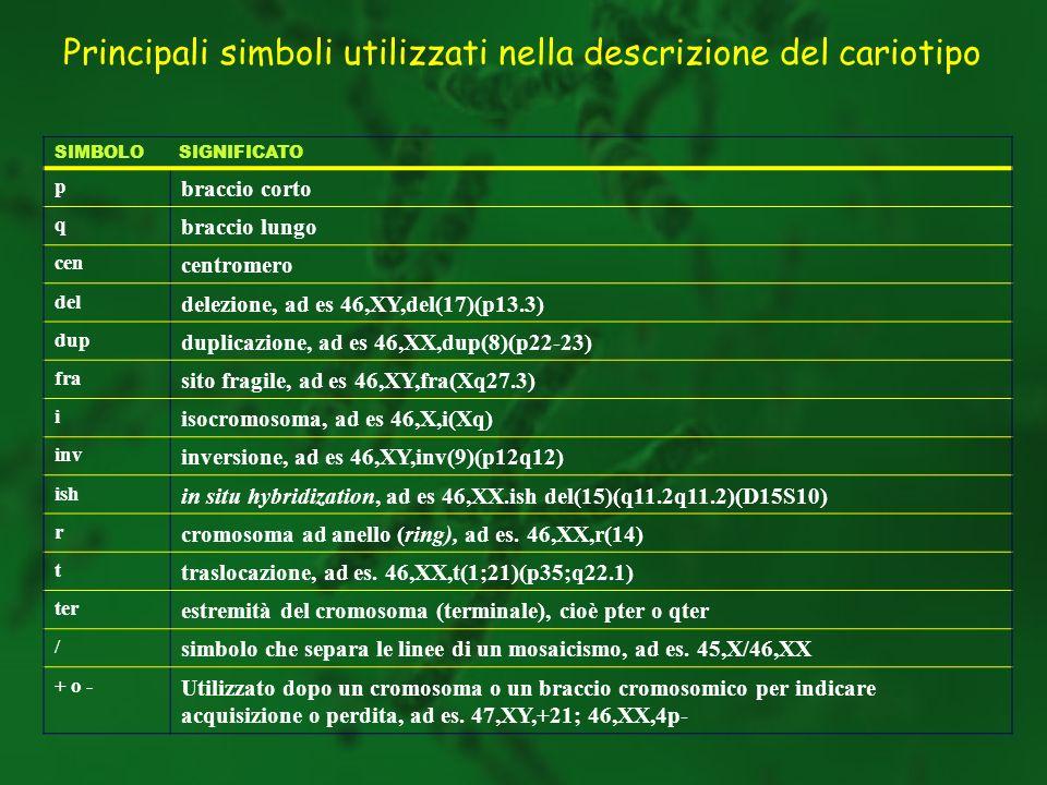 SIMBOLO SIGNIFICATO p braccio corto q braccio lungo cen centromero del delezione, ad es 46,XY,del(17)(p13.3) dup duplicazione, ad es 46,XX,dup(8)(p22-