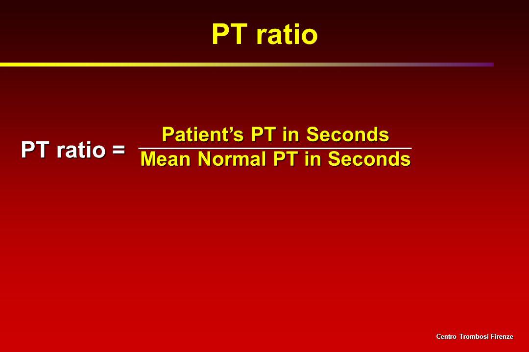 Patients PT in Seconds Mean Normal PT in Seconds PT ratio = PT ratio Centro Trombosi Firenze