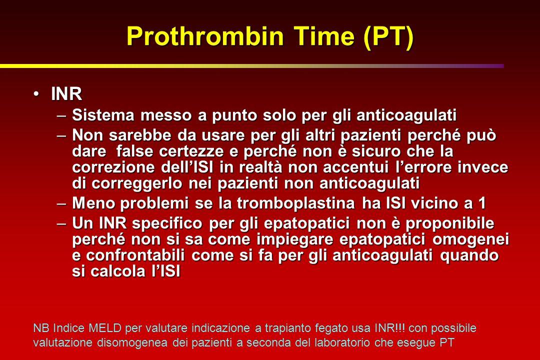Prothrombin Time (PT) INRINR –Sistema messo a punto solo per gli anticoagulati –Non sarebbe da usare per gli altri pazienti perché può dare false cert