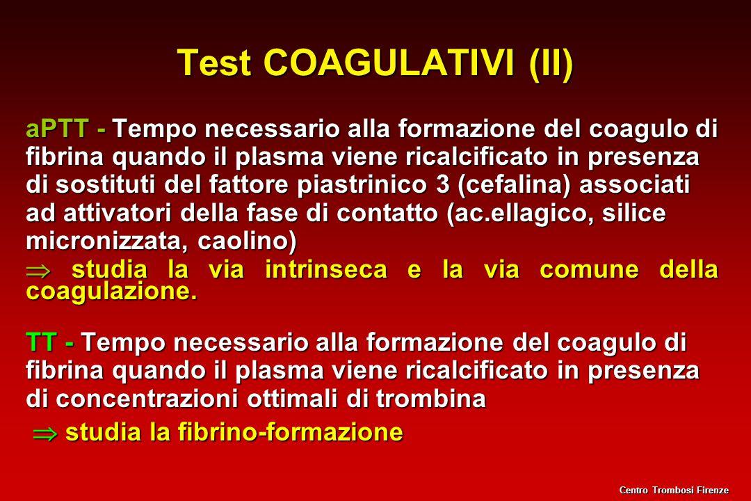 Test COAGULATIVI (II) aPTT - Tempo necessario alla formazione del coagulo di fibrina quando il plasma viene ricalcificato in presenza di sostituti del