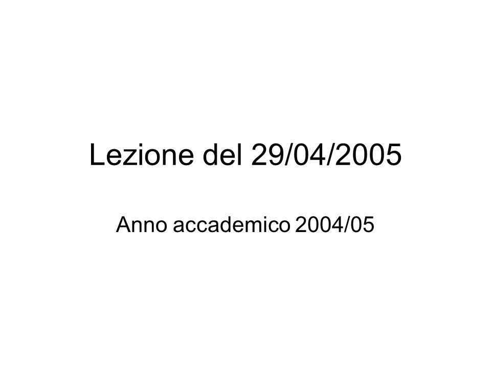 Lezione del 29/04/2005 Anno accademico 2004/05