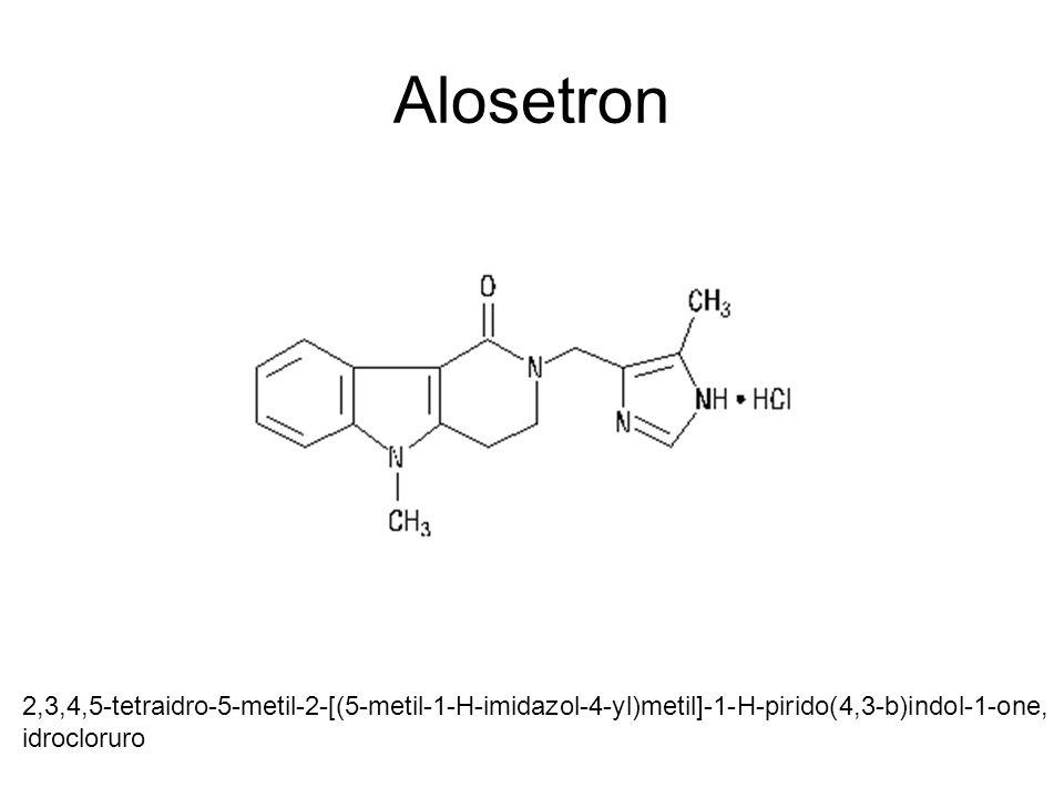 Alosetron 2,3,4,5-tetraidro-5-metil-2-[(5-metil-1-H-imidazol-4-yl)metil]-1-H-pirido(4,3-b)indol-1-one, idrocloruro