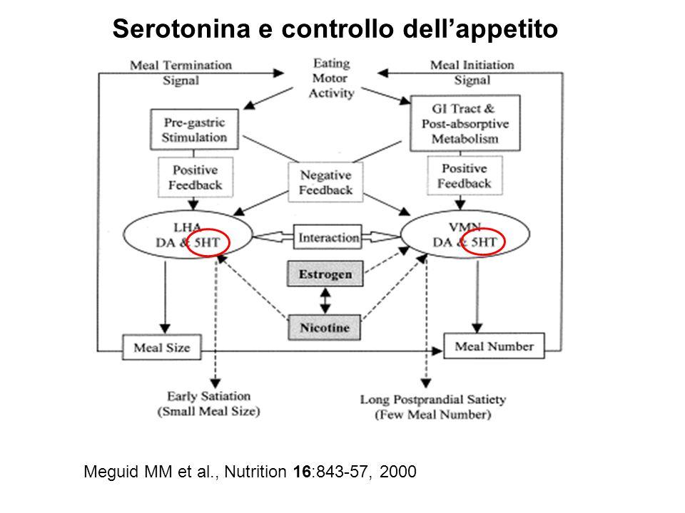 Meguid MM et al., Nutrition 16:843-57, 2000 Serotonina e controllo dellappetito
