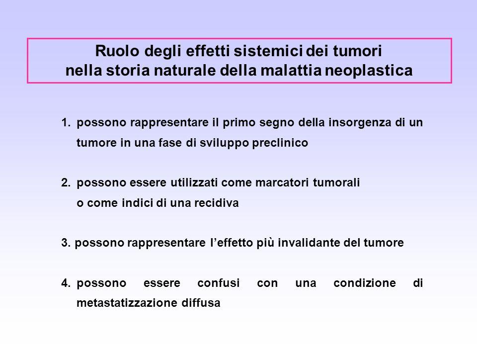 Ruolo degli effetti sistemici dei tumori nella storia naturale della malattia neoplastica 1.possono rappresentare il primo segno della insorgenza di u
