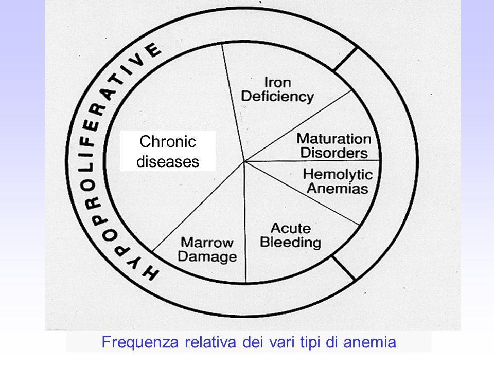 Chronic diseases Frequenza relativa dei vari tipi di anemia