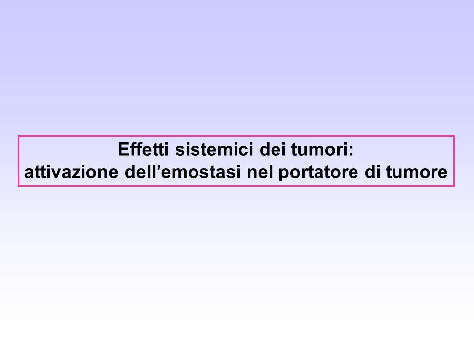 Secrezione del fattore tissutale da parte delle cellule tumorali e/o dagli endoteli vascolari stimolati da citochine infiammatorie Secrezione di un fattore procoagulante tumorale ad azione diretta sul fattore X Aumento della reattività piastrinica secondaria alla interazione con le cellule tumorali Espressione di recettori per il fattore V sulla superficie delle cellule tumorali Attività procoagulante delle catene pesanti degli antigeni di istocompatibilità di II classe espressi da cellule tumorali e macrofagi la fibrina