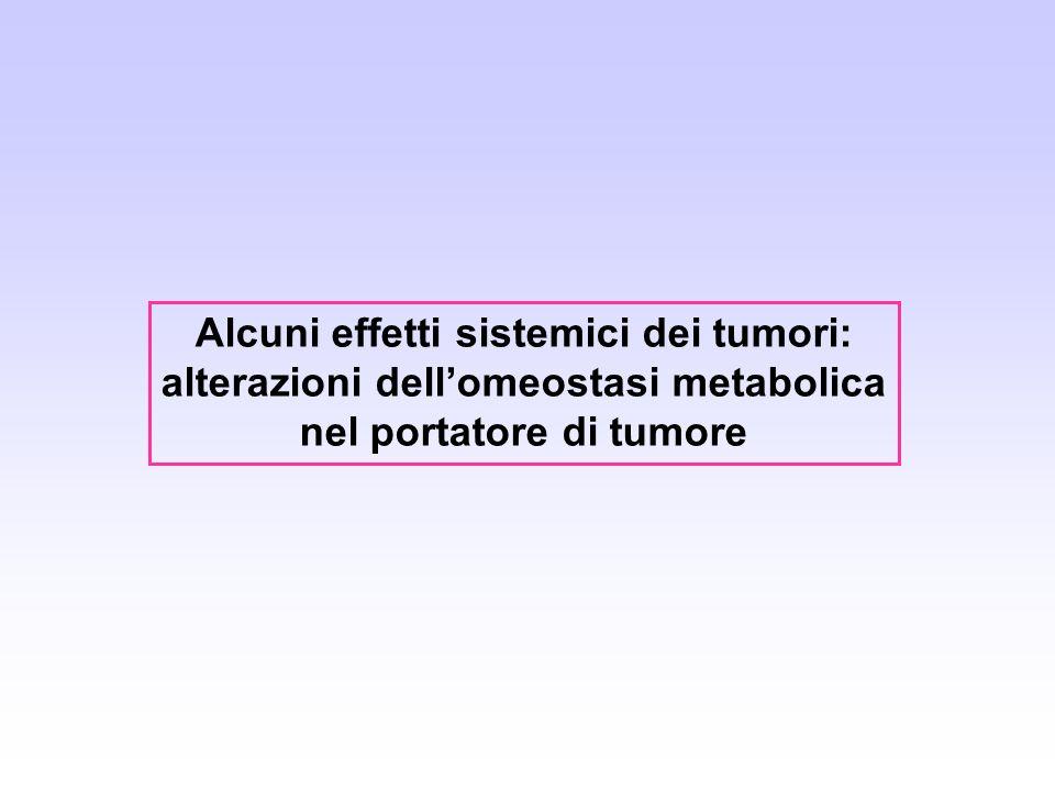 Alcuni effetti sistemici dei tumori: alterazioni dellomeostasi metabolica nel portatore di tumore