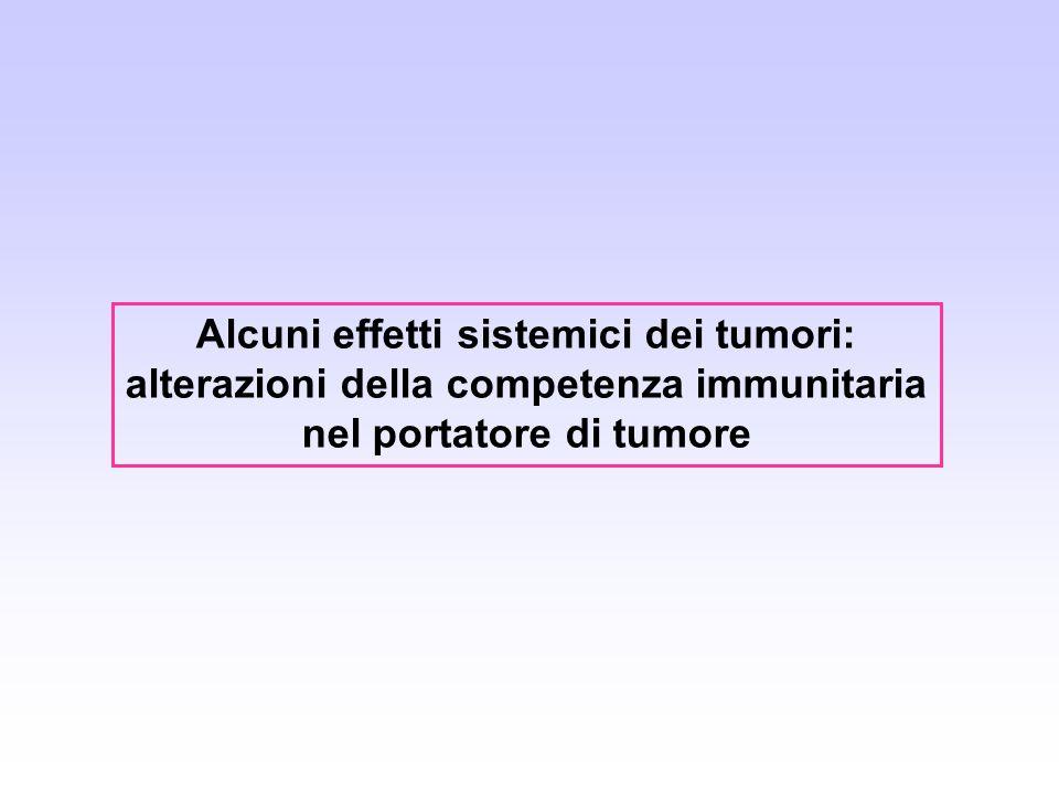 Alcuni effetti sistemici dei tumori: alterazioni della competenza immunitaria nel portatore di tumore