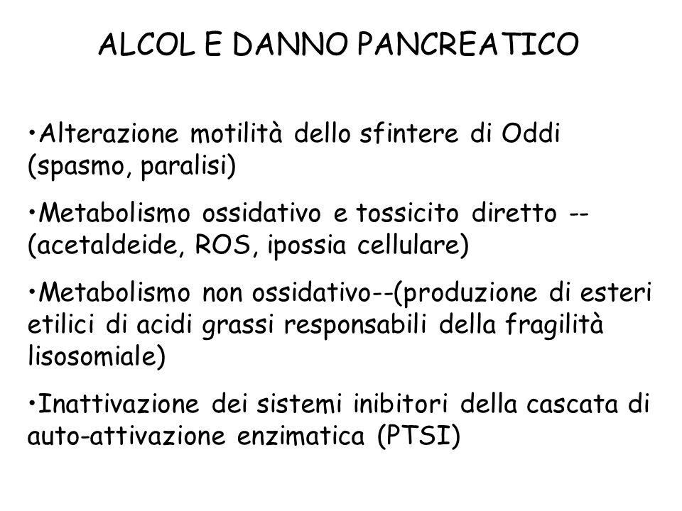 ALCOL E DANNO PANCREATICO Alterazione motilità dello sfintere di Oddi (spasmo, paralisi) Metabolismo ossidativo e tossicito diretto -- (acetaldeide, ROS, ipossia cellulare) Metabolismo non ossidativo--(produzione di esteri etilici di acidi grassi responsabili della fragilità lisosomiale) Inattivazione dei sistemi inibitori della cascata di auto-attivazione enzimatica (PTSI)