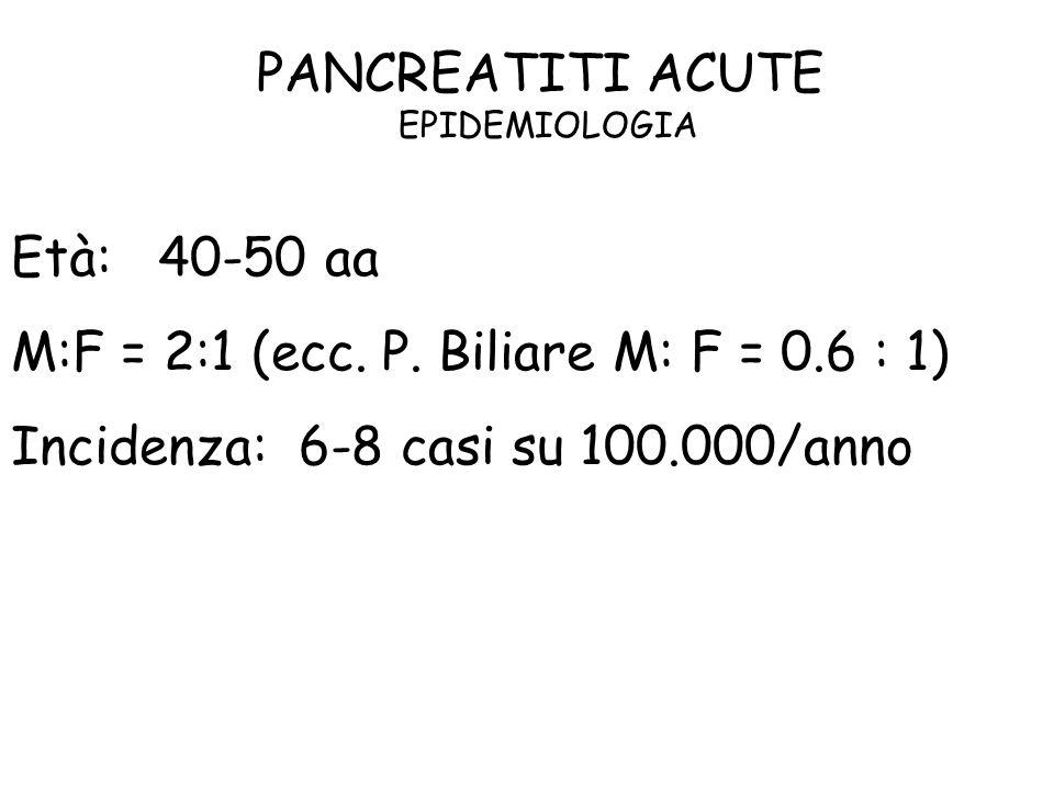 PANCREATITI ACUTE EPIDEMIOLOGIA Età: 40-50 aa M:F = 2:1 (ecc. P. Biliare M: F = 0.6 : 1) Incidenza: 6-8 casi su 100.000/anno