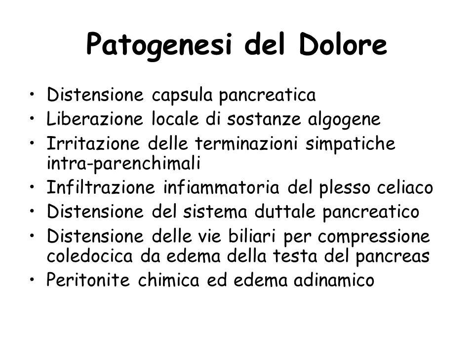 Patogenesi del Dolore Distensione capsula pancreatica Liberazione locale di sostanze algogene Irritazione delle terminazioni simpatiche intra-parenchi