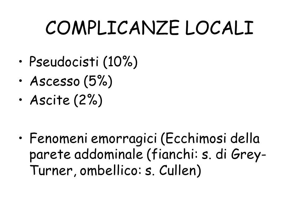 COMPLICANZE LOCALI Pseudocisti (10%) Ascesso (5%) Ascite (2%) Fenomeni emorragici (Ecchimosi della parete addominale (fianchi: s. di Grey- Turner, omb