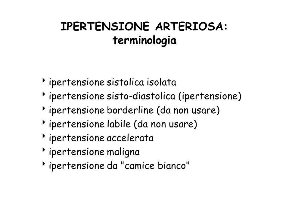 IPERTENSIONE ARTERIOSA: terminologia ipertensione sistolica isolata ipertensione sisto-diastolica (ipertensione) ipertensione borderline (da non usare