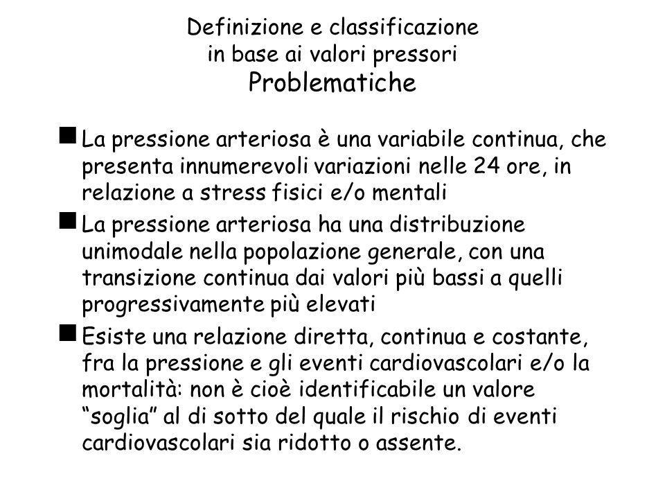 Definizione e classificazione in base ai valori pressori Problematiche La pressione arteriosa è una variabile continua, che presenta innumerevoli vari
