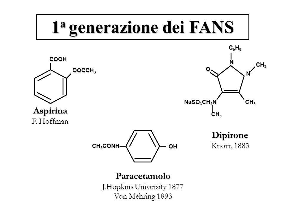 1 a generazione dei FANS COOH OOCCH 3 Aspirina F.