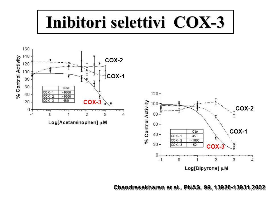 Inibitori selettivi COX-3 COX-3 COX-1 COX-2 Chandrasekharan et al., PNAS, 99, 13926-13931,2002