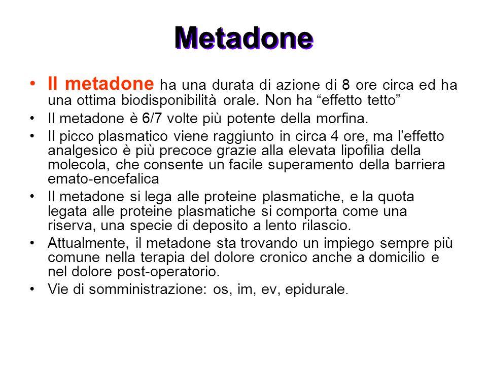 Il metadone ha una durata di azione di 8 ore circa ed ha una ottima biodisponibilità orale. Non ha effetto tetto Il metadone è 6/7 volte più potente d