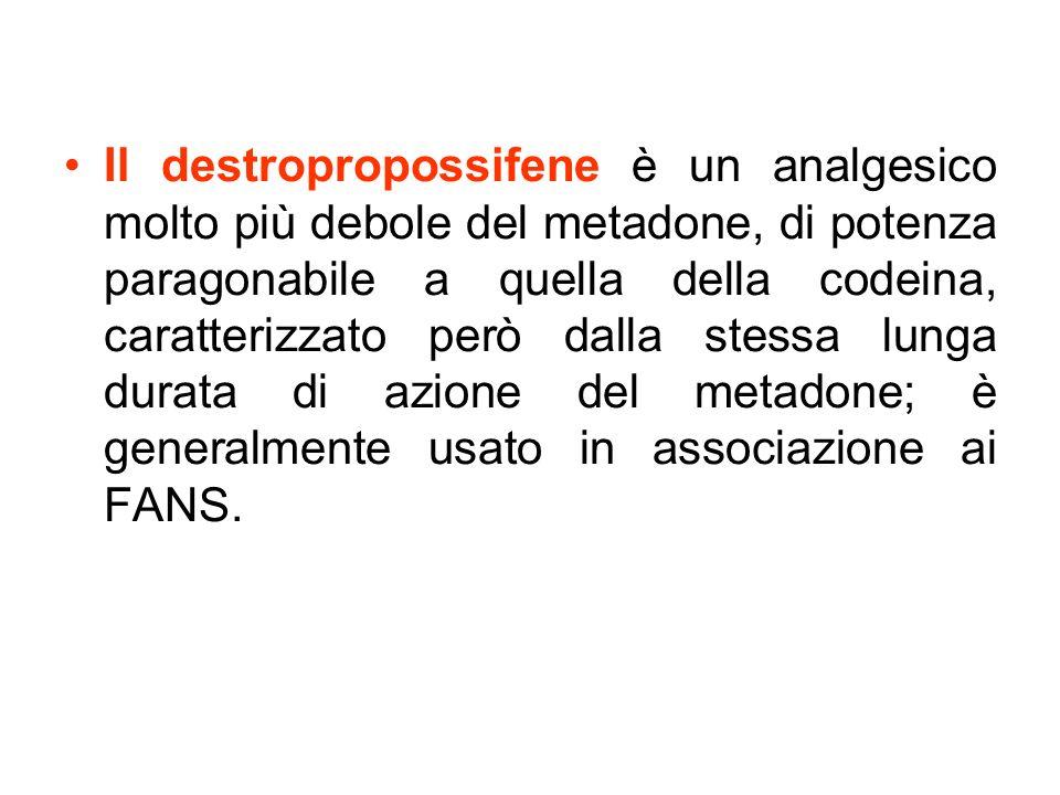 Il destropropossifene è un analgesico molto più debole del metadone, di potenza paragonabile a quella della codeina, caratterizzato però dalla stessa