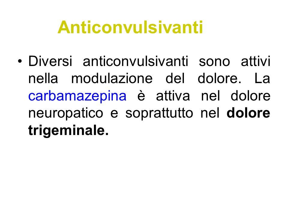 Anticonvulsivanti Diversi anticonvulsivanti sono attivi nella modulazione del dolore. La carbamazepina è attiva nel dolore neuropatico e soprattutto n